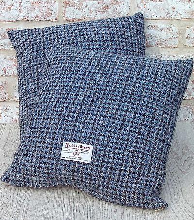 blue black dogstooth harris tweed cushion by roses workshop