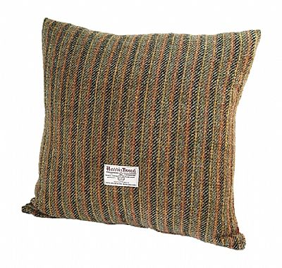 harris tweed cushion red and grey stripes by roses workshop