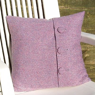 pink harris tweed cushion with three buttons from roses workshop