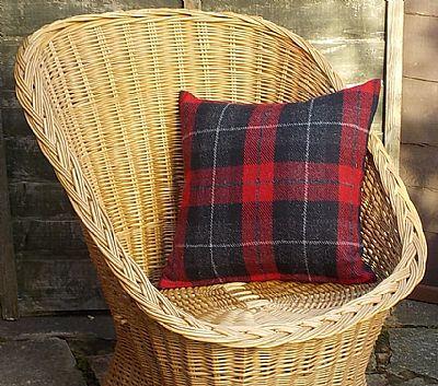 harris tweed cushion in red and black tartan by roses workshop