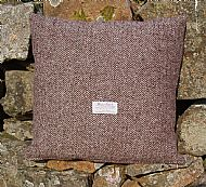Harris tweed cushion brown herringbone