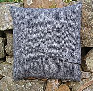 Celtic button grey herringbone cushion cover