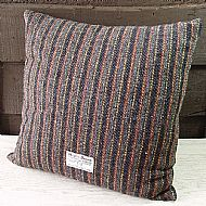 Red and grey striped Harris tweed cushion 16 inch