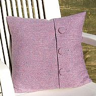 Pink heather Harris tweed 16 inch cushion