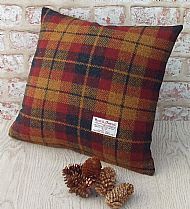 Autumn check Harris tweed cushion