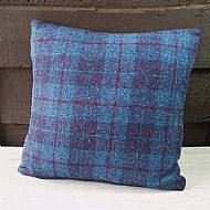 Blue and purple check cushion 16