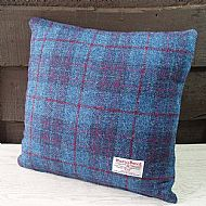 Blue and purple check cushion