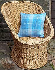 Bright blue and white tartan Harris tweed cushion cover