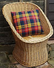 Bright tartan Harris tweed cushion