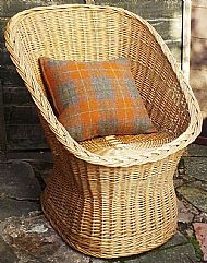 Orange brown tartan Harris tweed cushion cover
