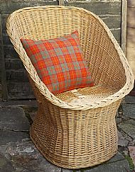 Orange grey check Harris tweed cushion cover