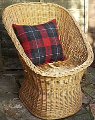 Red and black tartan Harris tweed cushion cover