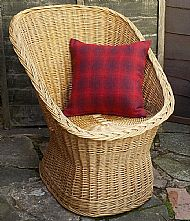 Red check Harris tweed cushion cover