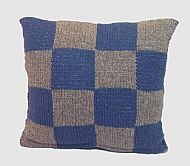 Knitted Shetland wool cushion blue grey squares