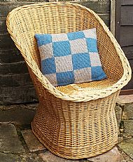 Knitted Shetland wool cushion blue grey squares