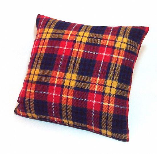 harris tweed cushion in bright tartan by roses workshop