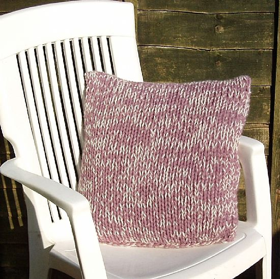chunky pink shetland cushion by roses workshop