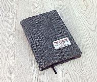 Harris tweed A5 book cover grey herringbone