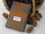 Harris tweed A5 book cover orange brown tartan