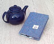 Harris tweed A6 book cover blue herringbone