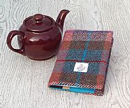 Harris tweed A6 book cover brick red turquoise green
