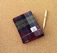 Harris tweed A6 book cover wine red olive green