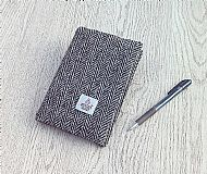 Harris tweed A6 book cover grey herringbone