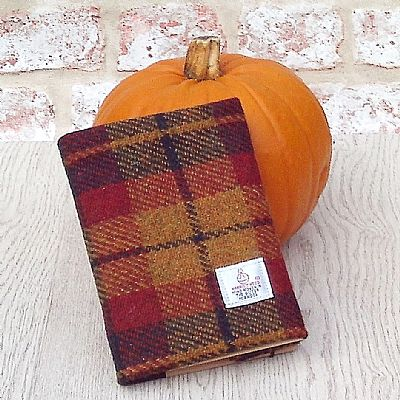 harris tweed coverd a6 diary by roses workshop