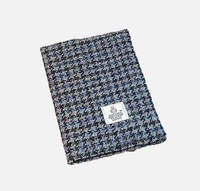 harris tweed a6 book cover in blue houndstooth