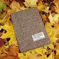 Harris tweed A5 book cover brown herringbone