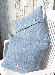 Pale blue Harris tweed cushions