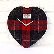 Harris Tweed heart-shaped clock