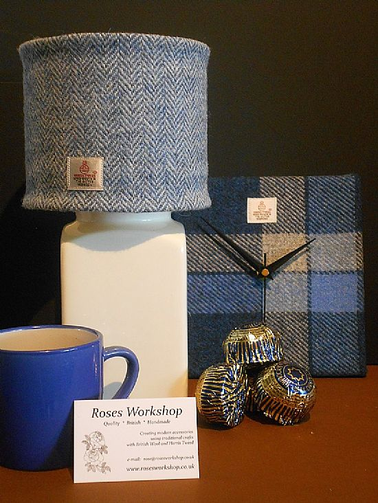 harris tweed blue clock and lampshade by roses workshop