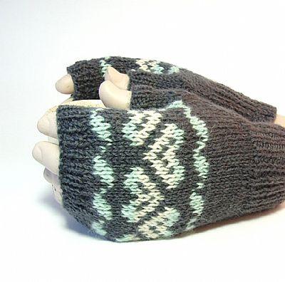 closeup of fairisle pattern on grey gloves