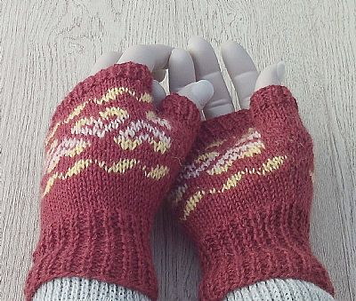 closeup of fairisle gloves