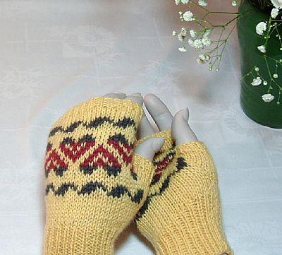 yellow fairisle fingerless gloves in british wool