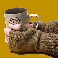 Castlemilk Moorit pure wool fingerless gloves
