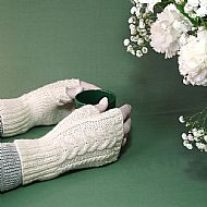 Cream aran cable gloves pure soft wool