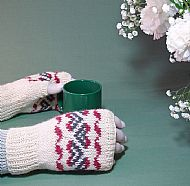 Cream fairisle gloves British wool