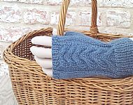 Blue Wensleydale cable gloves