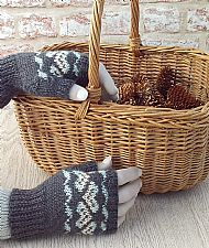 Grey fairisle British wool gloves