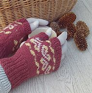 Fairisle gloves ruby red British wool