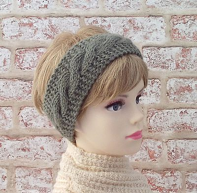 british wool green hand-knit hairband by roses workshop