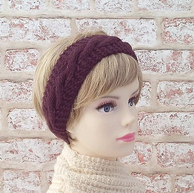 british wool maroon knitted hairband by roses workshop