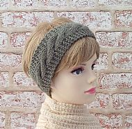 Green British wool hairband earwarmer