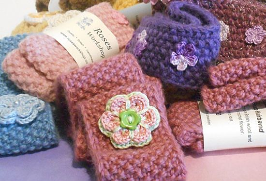 selection of hand knitted hairbands by roses workshop