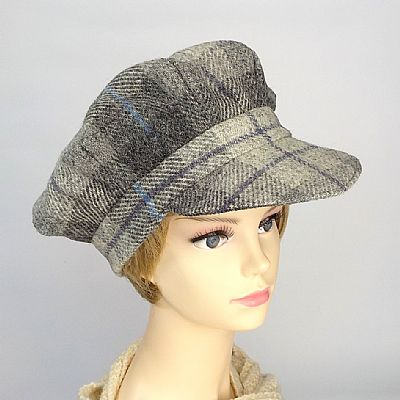 harris tweed baker boy ladies hat in grey tartan handmade by roses workshop