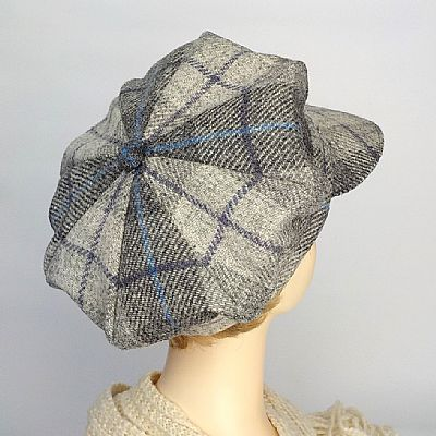 matching tartan segments on harris tweed cap by roses workshop
