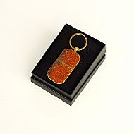 Harris tweed keyring rectangular orange tartan