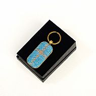 Harris tweed keyring rectangular blue tartan